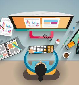 sviluppo siti web, cartoon dall'alto